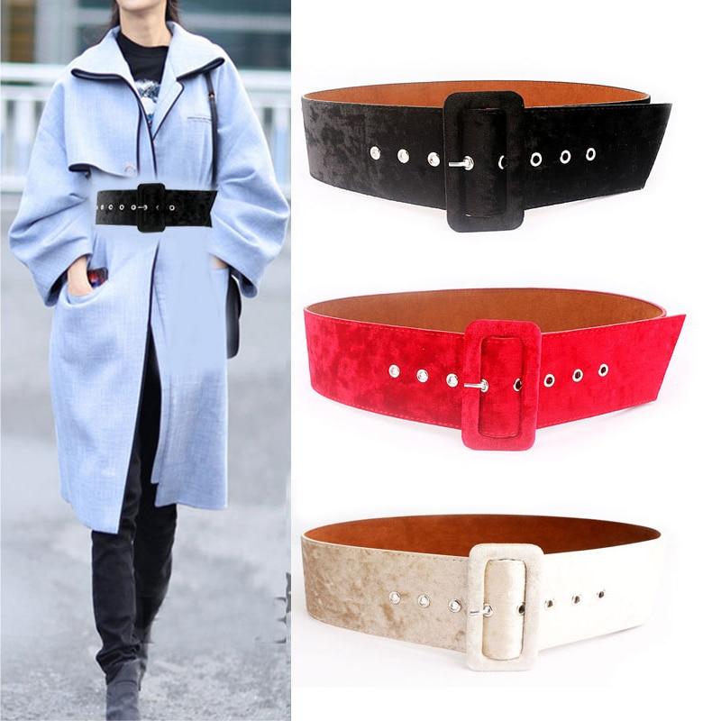 Plus Size Belt Fashion Wait Corset Belts For Women Black Big Wide Dress Ceinture Femme Designer Waistband Velvet Surface New