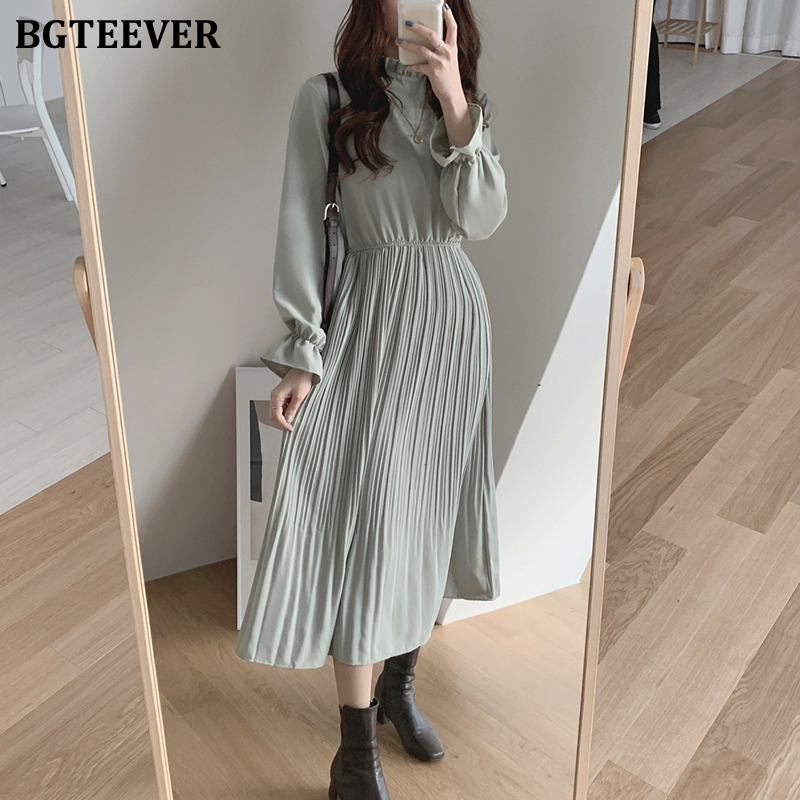 BGTEEVER Elegant Stand Collar Flare Sleeve Women A-line Dress Chiffon Midi Dress Female Elastic Waist Pleated Vestidos 2020