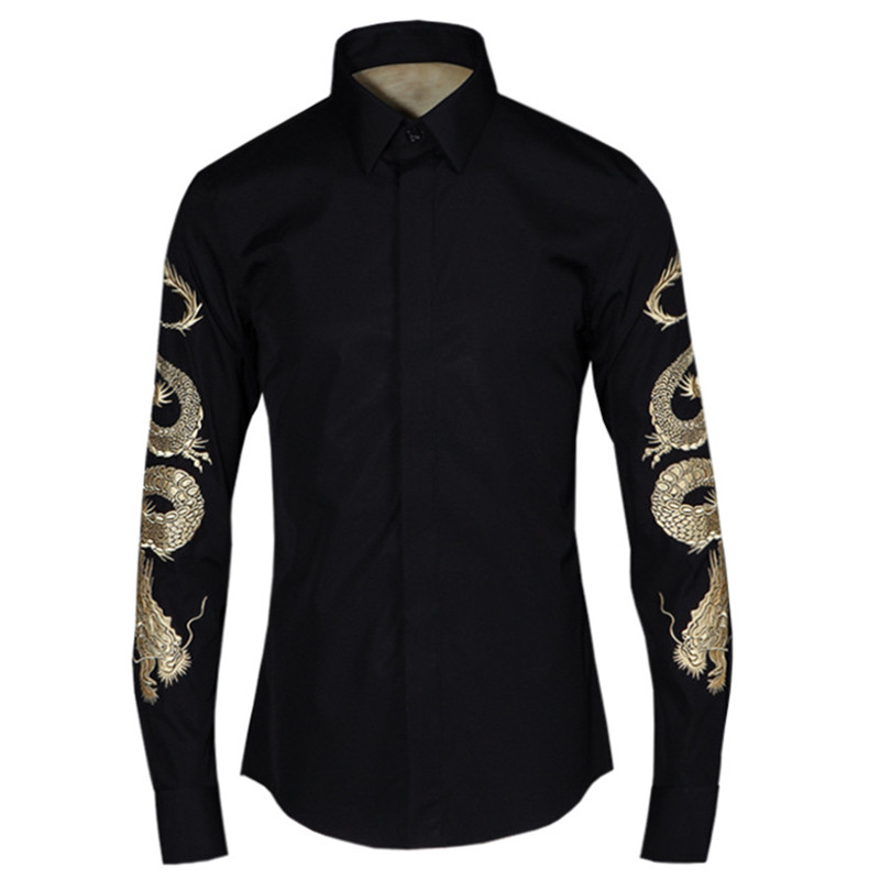 High quality brand Italy style long sleeve embroidery shirts men original spring fashion shirt mens casual black shirt male