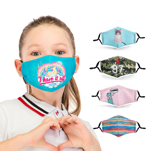 Face Mask For Kids Fashion Reusable Mouth Mask With 2pcs PM2.5 Filter Anti Dust Masks For Germ Protection kpop Printed Mask
