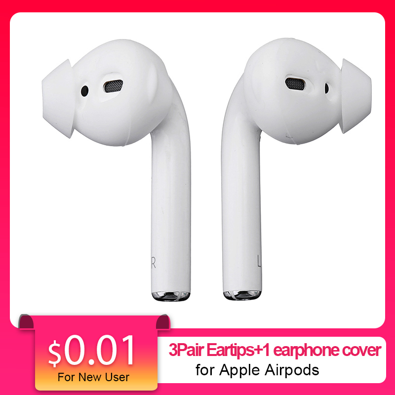 3Pairs+1cover Earphone Cover Ear Pads For Iphone-Airpods Silicone Earbuds Cover In-Ear Eartips Anti-shedding Painless For-Airpod