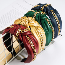 Fashion PU Alloy Chain Headband For Women Solid Color Crystal Hairband Women Hair Accessories Hair Band simple semicycle alloy decorated hair band for women