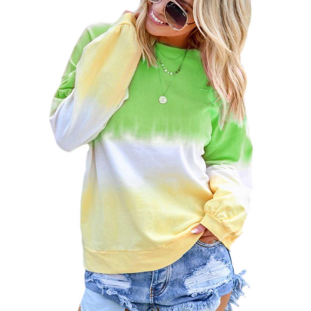 Wanita Sweatshirt Lengan Panjang Hoodie Rainbow Dicetak Leher Bulat Kasual Pakaian Olahraga Musim Semi Musim Gugur Wanita Colorful Pullover Hoodie