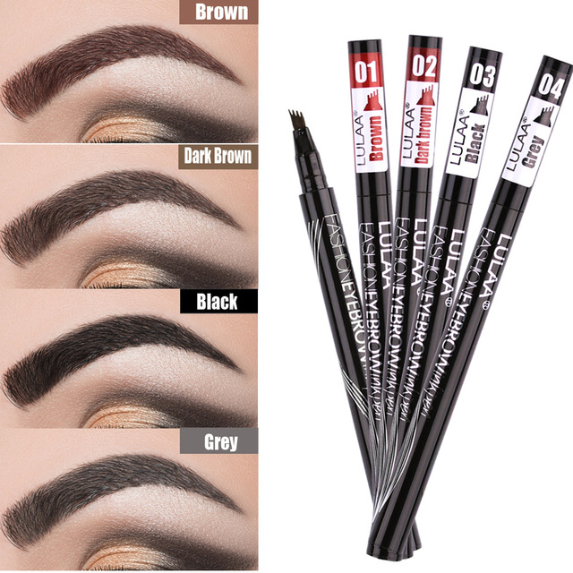 Waterproof Natural Eyebrow Pen Four-claw Eye Brow Tint Makeup three Colors Eyebrow Pencil Brown Black Grey Brush Cosmetics 1