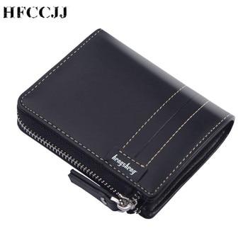 цена на NEW Vintage Zipper Oil Wax Men's Wallets Luxury Wallet Men Slim Bifold Short Purses Credit Card Holder Business Male Purse HC213