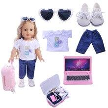 6 ピース/セットファッション人形トラベリングスーツケース tシャツパンツ靴ラップトップのためのフィット 18 インチ 43 センチメートルアメリカの人形のアクセサリー女の子のおもちゃ