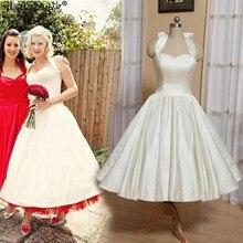 1950s Vintage Dresses Curto Elegant Ivory Bride Backless Short Wedding