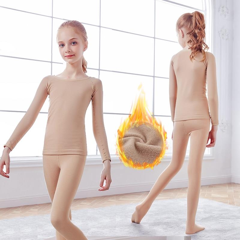 Girls Thermal Fleeced Underwear Set Winter Velvet Tops&Tights Clothing Set Kids Children Nude Leotards Sports Tracksuit