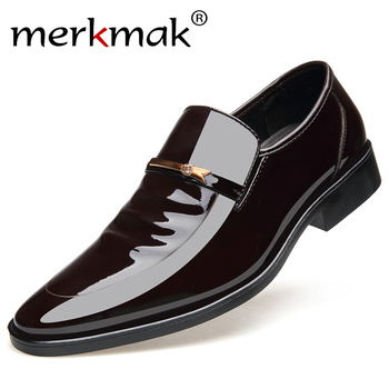 Merkmak Vintage Design Patent Leather Oxford Shoes For Men Dress Shoes Men Formal Shoes Pointed Toe Business Wedding Shoes 1