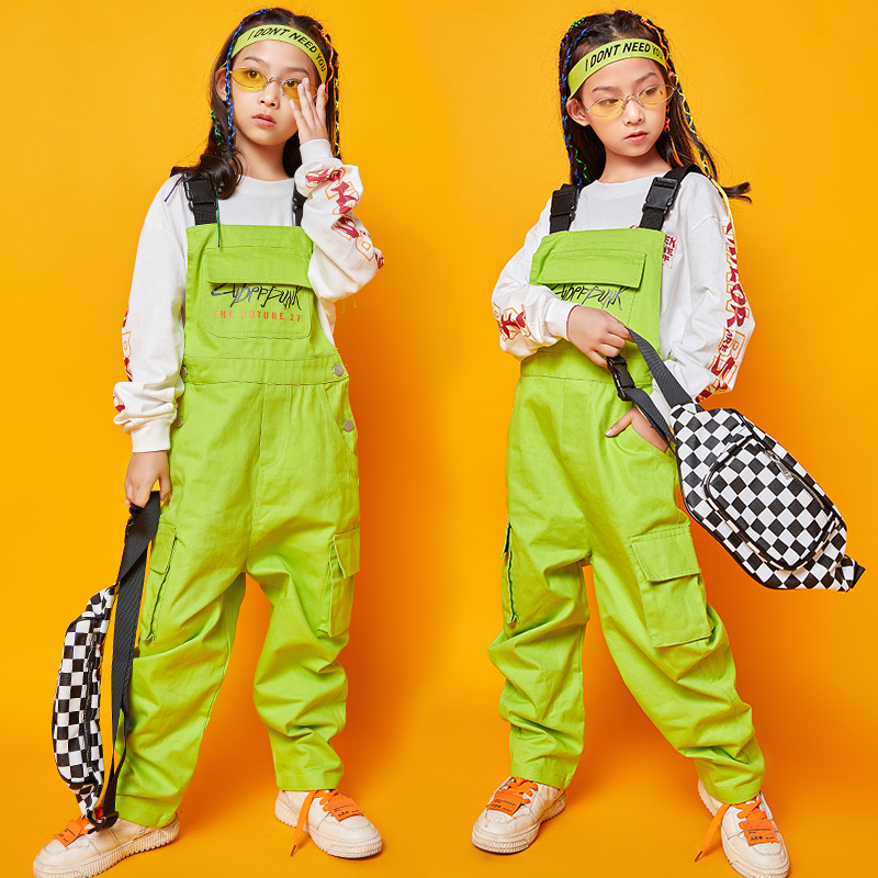 Jazz Dance Costumes Girls Long Sleeve Hip Hop Performance Clothing Kids Stage Rave Outfit Street Dance Practice Clothes DC2940