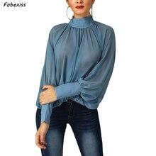 2019 Fall New Chiffon Blouses Women Long Lantern Sleeve Turtleneck Casual Shirts Plus Size Elegant Blue Loose Tops
