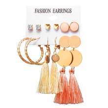 Bohemian Crystal Round Disc Geometric Dangle Earrings For Women Vintage Long Set Female Wedding Jewelry