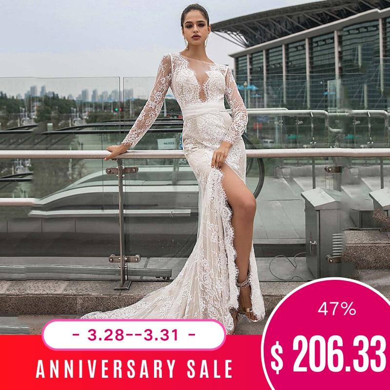 Dressv Bateau Neck Wedding Dress Long Sleeves Mermaid Lace Split Front Sashes Outdoor&church Wedding Dresses Custom Bowknot