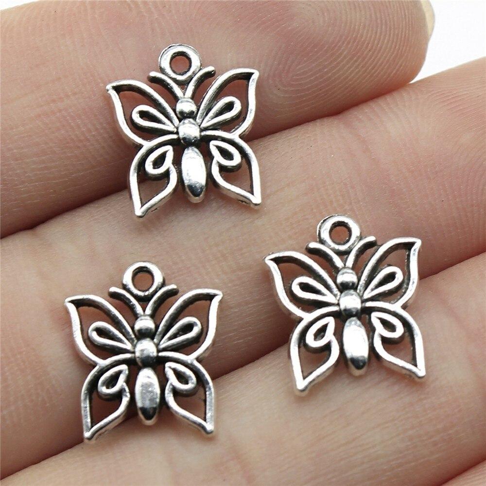 40 pièces 14x13mm petit papillon charme mignon papillon charmes pour la fabrication de bijoux minuscules charmes de papillon