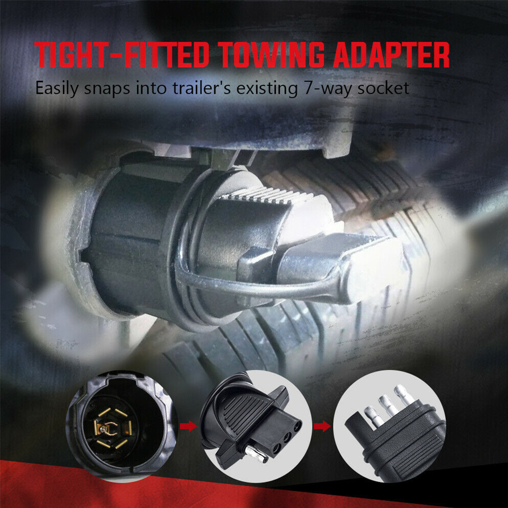 Accessories Professional Boat Connector 7 Way To 4 Pin Adapter Trailer RV Flat Blade Tools Socket Hitch Plug Towing Light