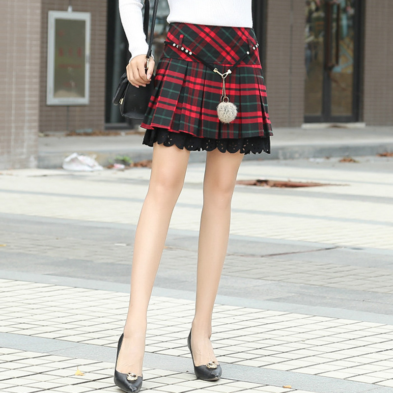Vintage Plaid Mini Skirt Women Fall Winter Red Elegant Midi Fashion Warm Short Skirts Elegant Holiday Boho Tunic Skirts