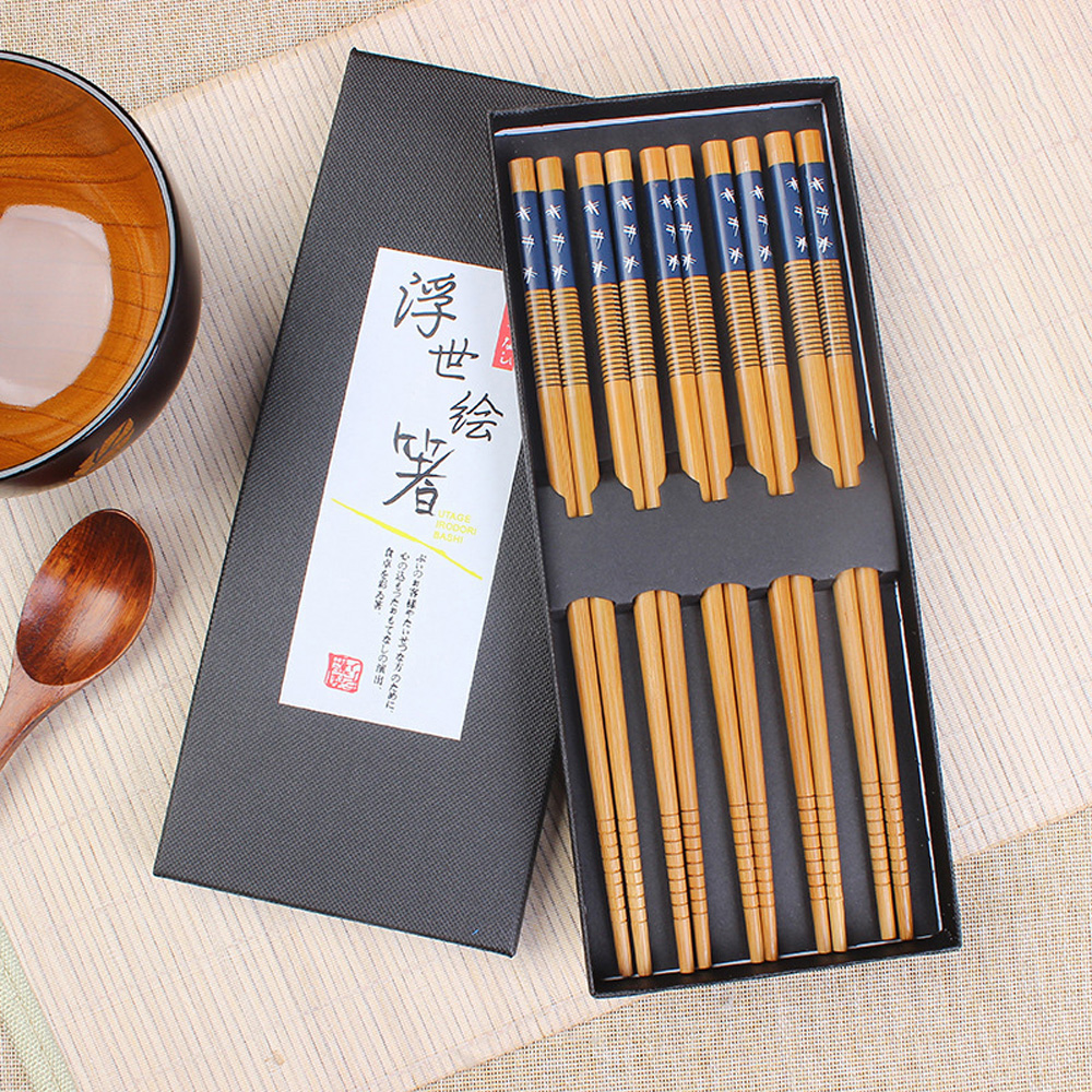 Natural Bamboo Chinese Chopsticks Reusable Tableware Dinning Eating Japanese Chopstick for Gift Sushi Food Sticks image