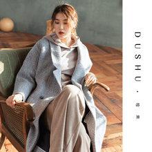 Женское длинное шерстяное пальто в клетку dushu винтажное большого