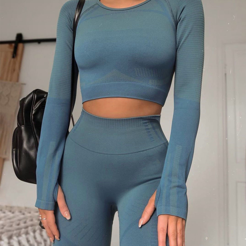2 Piece Set Geo Seamless Yoga Sets Women Long Sleeve Sports Set Sports High Waist Yoga Pants Wear For Women Gym Clothes
