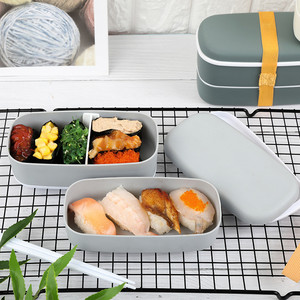 Small Japanese Style 2 Layer Bento Box Mini Food Storage Lunch Box PP Container Student Office Kid Microwave Dinnerware Lunchbox(China)