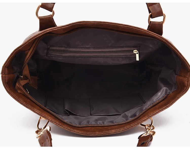 ICEV europa stijl casual vrouwen lederen handtassen stevige rits composiet tas dames kantoor clutch top handvat tas 6 stuk zak set