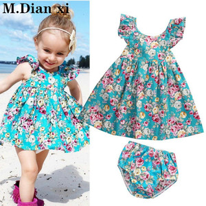 Baby Dress 2020 Lovely Summer Infant Baby Girl Ruffle Floral Dress Sundress Briefs Outfits Clothes Set
