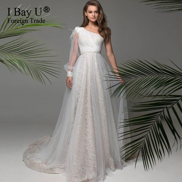 Long Sleeve Feather Tulle Party Evening Dresses 2020 Sexy Light Champagne Formal Prom Dress Gown Women Plus Size robe de soiree