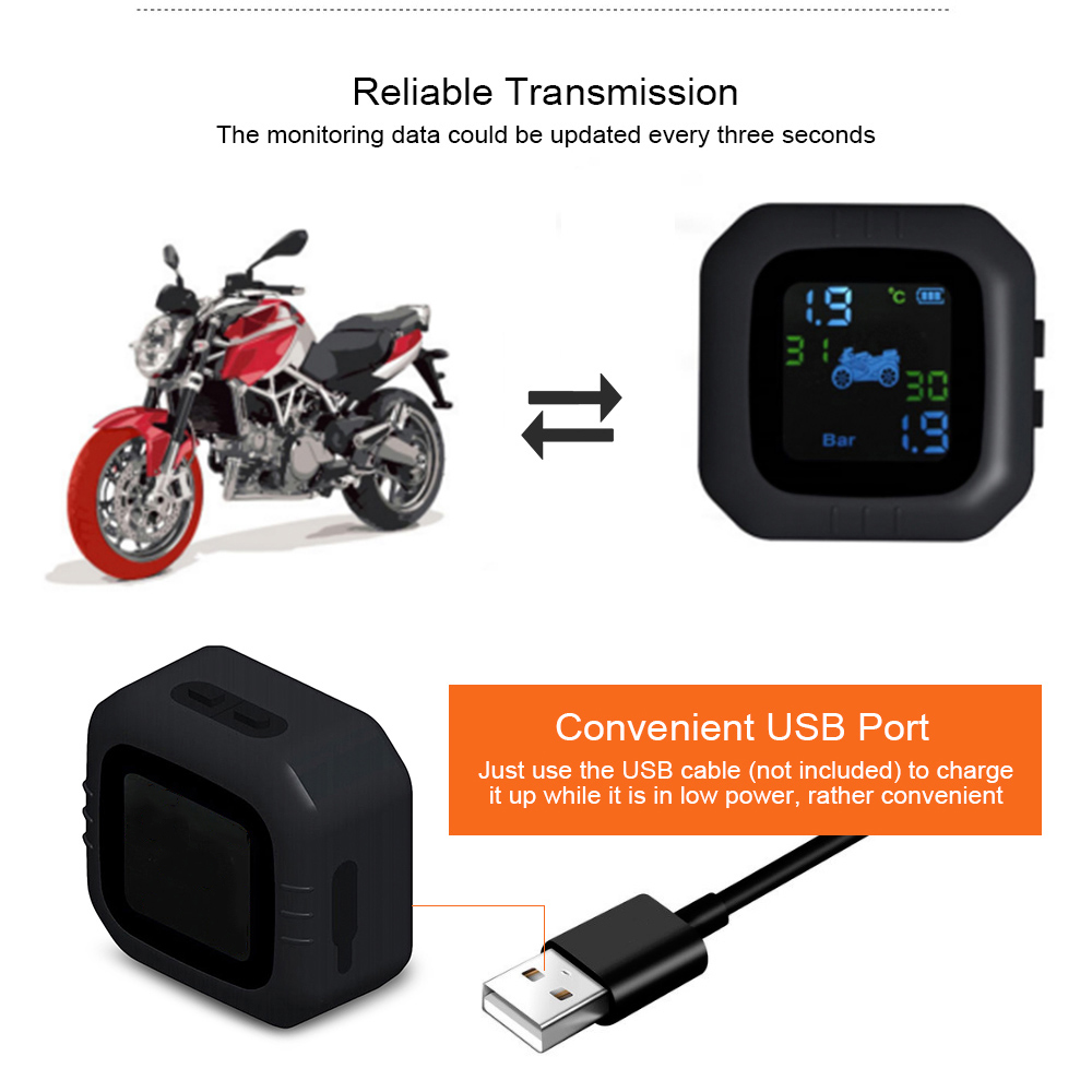 Wireless LCD Motorcycle Tire Pressure Monitoring System TPMS 2External Sensor Realtime Monitor Abnormal Alarm Moto Tyre Tool PSI