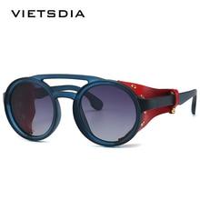 Vintage SteamPunk Punk Style Round Polarized Sunglasses Leather Side Sh