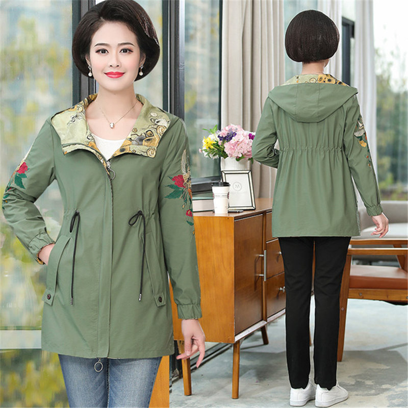 Vintage Mother Fall Jacket 2019 new floral Coat middle-aged Women's Spring Autumn thin Trench Coats Plus Size Outerwear v961