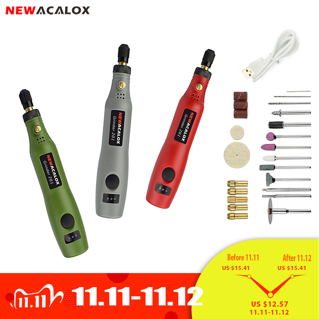 NEWACALOX 10w Mini DIY Wireless Electric Grinder Set USB 5V DC Variable Speed Rotary Tools Wood Carving Pen for Milling Engraver