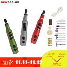 Newacalox 10w mini diy conjunto moedor elétrico sem fio usb 5 v dc velocidade variável ferramentas rotativas escultura em madeira caneta para fresar gravador