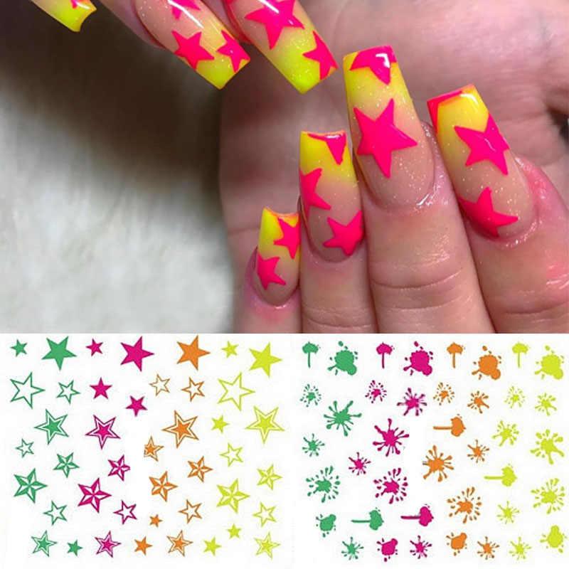 Nail Art 3D Decal Stickers Neon Stars Splatter Blob Flash