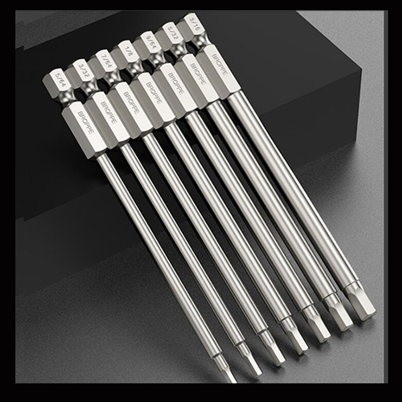 Jeu de mèches pour clé Allen métrique, 100mm de longueur, tournevis à percussion en acier S2, mèche pour clé hexagonale magnétique, jeu de mèches électriques hexagonales