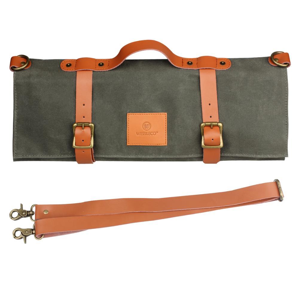 Wessleco şef bıçağı çantası tuval rulo çanta taşıma çantası çanta mutfak pişirme taşınabilir dayanıklı depolama 11 cepler