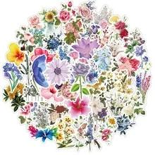 50 pcs Beautiful Colorful Flower Bloomings Stickers DIY Planner Notebook
