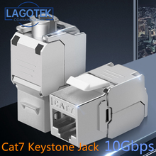 Toolless RJ45 Keystone Cat7 Cat6A מסוכך FTP אבץ סגסוגת מודול 10GB רשת Keystone שקע מחבר מתאם cat7 rj45