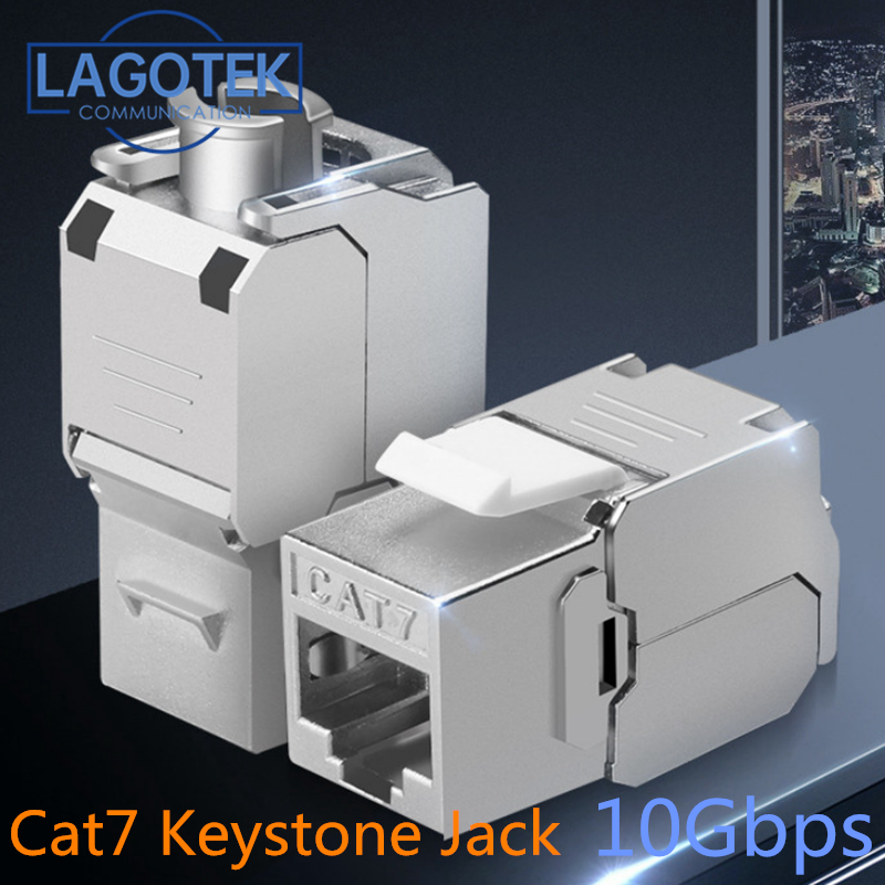 Toolless RJ45 Keystone Cat7 Cat6A Shielded FTP Zinc Alloy Module 10GB Network Keystone Jack Connector Adapter cat7 rj45