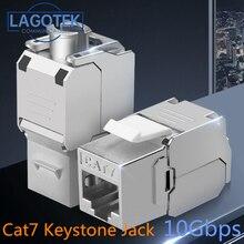 Toolless RJ45 Keystone Cat7 Cat6A Shielded FTP Zinc Alloy Module 10GB Network Keystone Jack Connector Adapter cat7 rj45