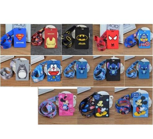 New 10 Sets Cartoon Mickey Minnie Stitch Superman  Lanyard Key Chains Card Holders Bank Card Neck Strap Card Bus ID Holders  A1