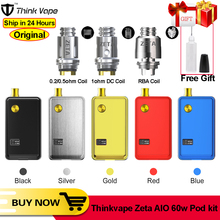Original Think Vape ZETA AIO 60W PodชุดVape RBAตาข่ายปกติม้วนกล่องMod 3MlถังE บุหรี่VS Smoant Pasito Lostvapeชุด