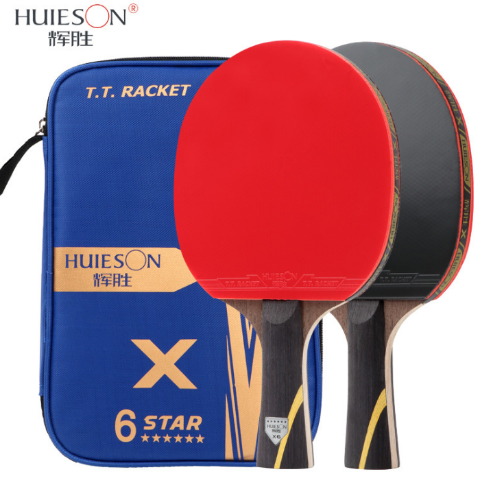 Huieson Upgraded 6 Star Carbon Table Tennis Racket Set ProfessionalPowerful Ping Pong Paddle Bat with Good Control