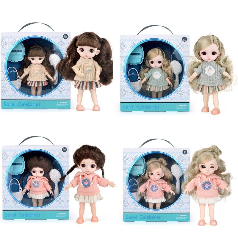 Bjd16 cm joint doll bonito adorável bebê terno menina criança aniversário presente de natal brinquedo