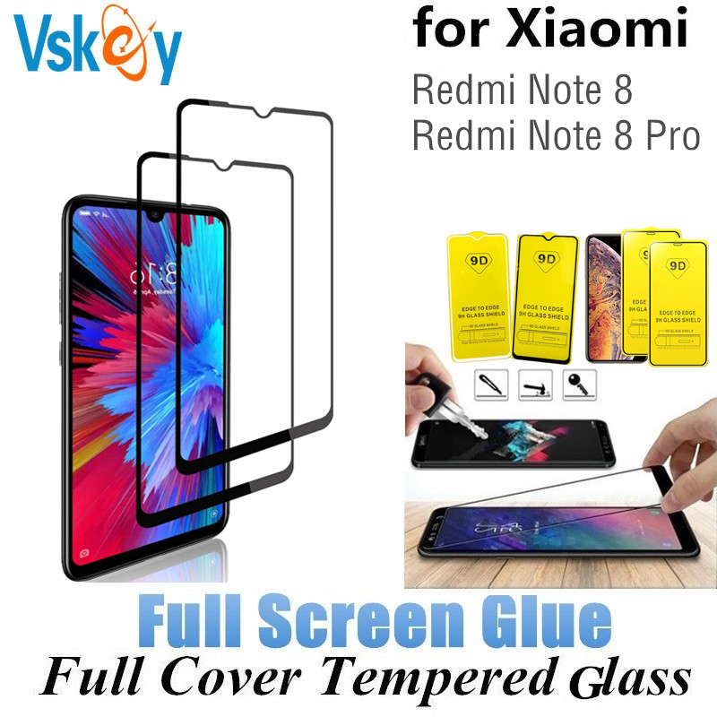 Image 1 - VSKEY 100pcs 2.5D Full Glue Tempered Glass for Xiaomi Redmi Note 8 Pro Full Cover Screen Protector Protective Film-in Phone Screen Protectors from Cellphones & Telecommunications