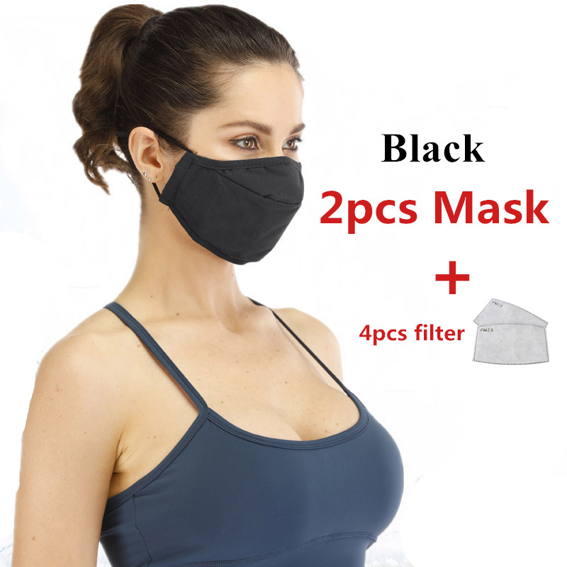 2PCS  Large Size Cotton PM2.5 Mouth Mask Reusable Mask Activated Carbon Filter Windproof Mouth-Muffle Dust-proof Face Masks
