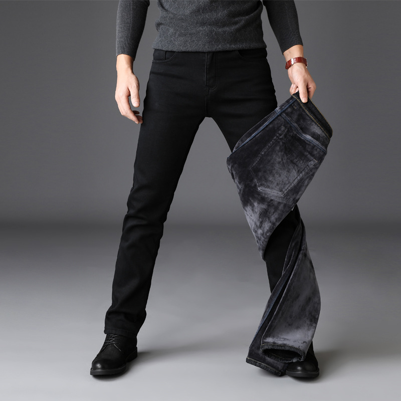 Wg202 # Hot Sales Autumn And Winter Elasticity Thick Plus Velvet Jeans MEN'S Black Pants Warm Large Size Men's Trousers 28-42