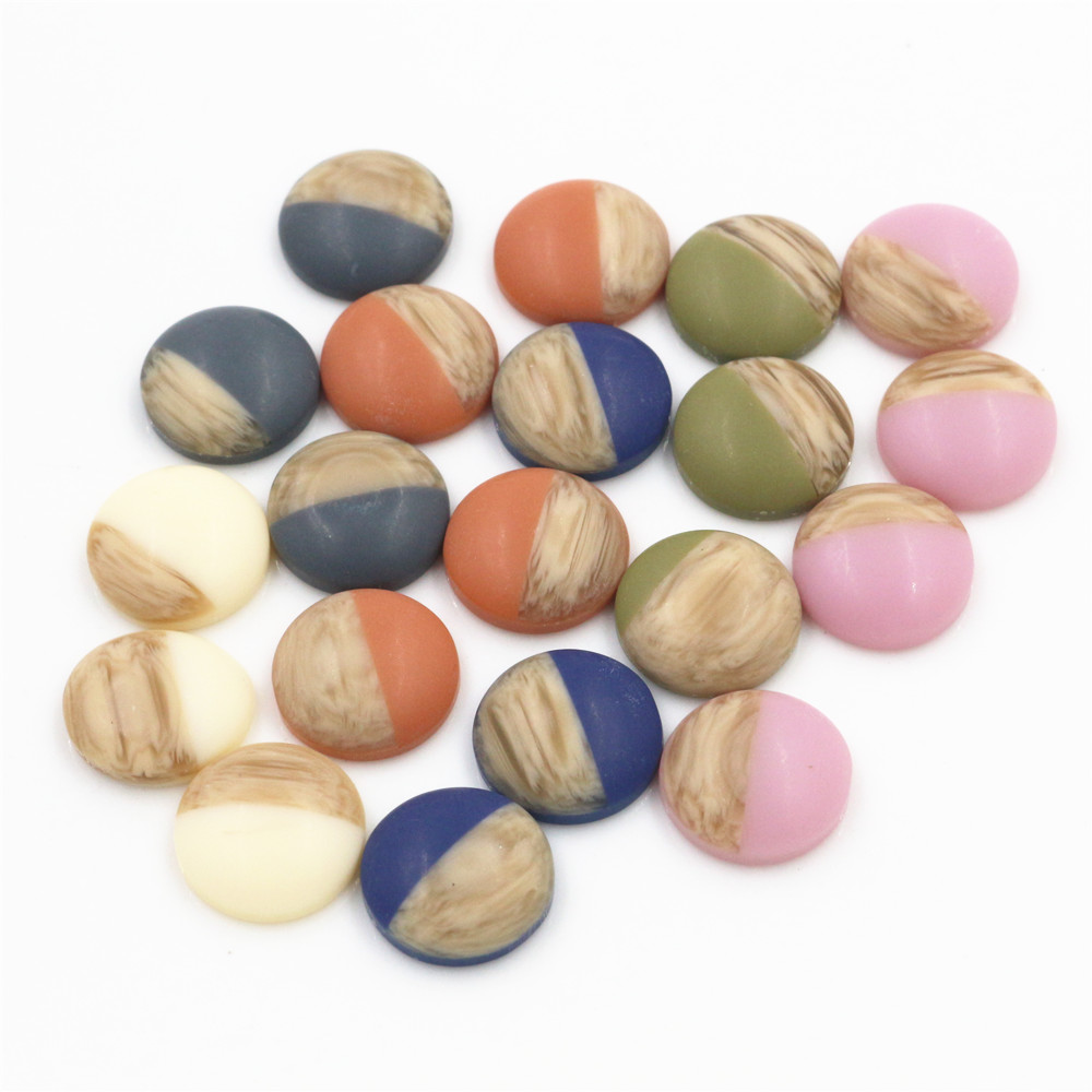40pcs 12mm Mix Colors Wood Grain Frosted Imitation Leather Style Flat Back Resin Cabochons Fit 12mm Cameo Base Button