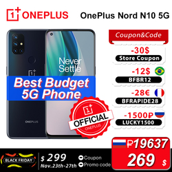 Глобальная версия OnePlus Nord N10 5G 6 ГБ 128 Snapdragon 690 смартфон 6,49 дюйм90 Гц Дисплей 64MP Quad камеры 30 Вт Warp зарядка NFC; промо код: LUCKY1500 P18000-1500