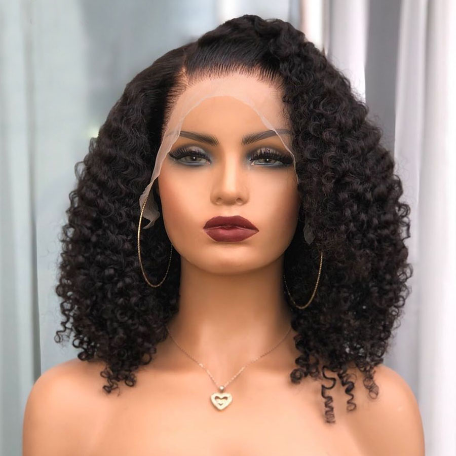 Индийский кудрявый вьющиеся парики 180 плотность Шелковый топ полные кружевные человеческие волосы парики с детскими волосами Новый ободок ...