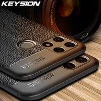 KEYSION caja a prueba de golpes para Realme Narzo 30A 30 Pro 5G de cuero de textura de silicona funda trasera del teléfono para Realme C25 Narzo 20 Pro 10